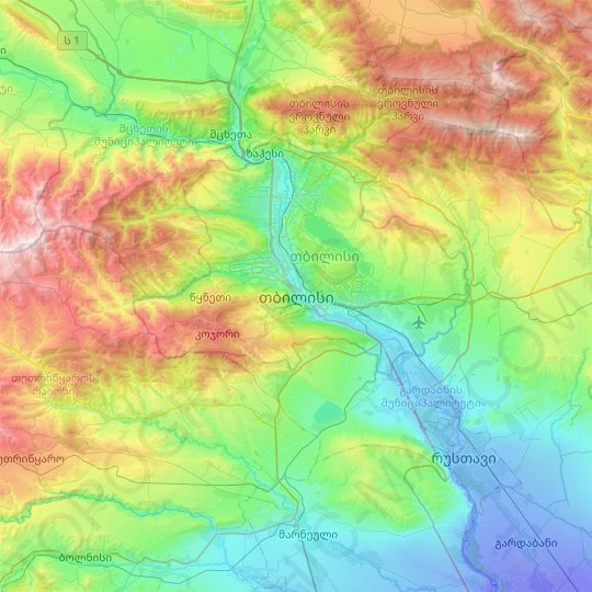 Tbilisi topographic map, relief map, elevations map