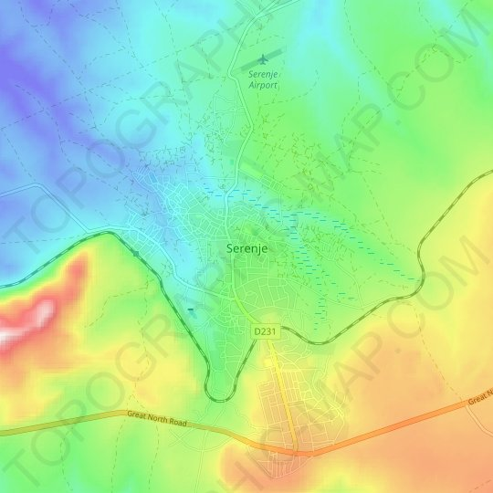 Serenje topographic map, relief map, elevations map