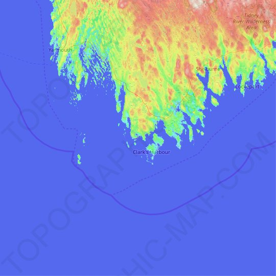 Brook Islands topographic map, relief map, elevations map