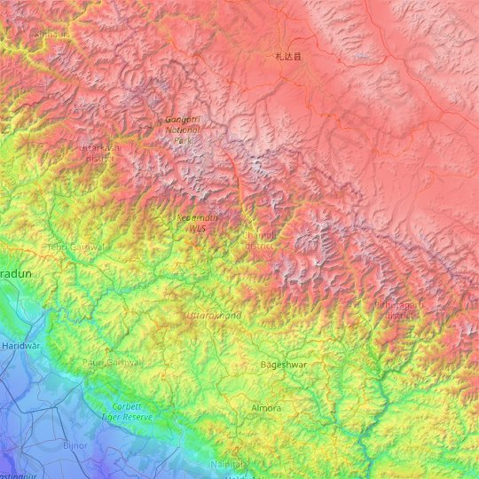 Chamoli topographic map, relief map, elevations map