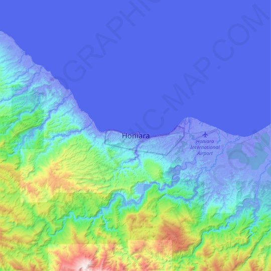 Honiara topographic map, relief map, elevations map