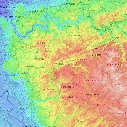 Wuppertal topographic map, relief map, elevations map
