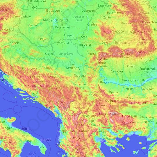 Serbia topographic map, elevation, relief
