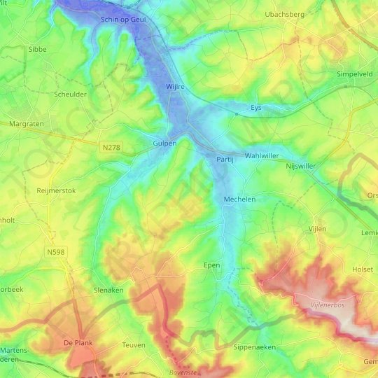 Gulpen-Wittem topographic map, relief map, elevations map