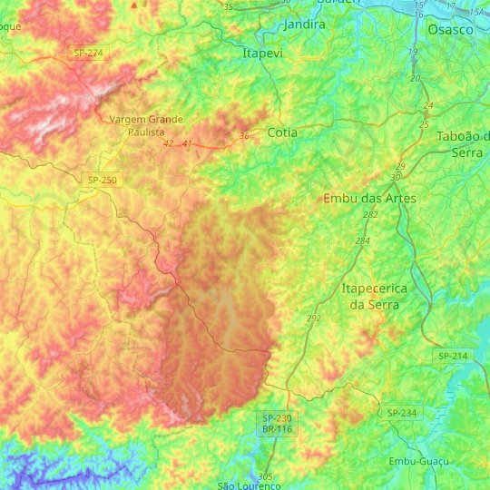 Cotia topographic map, relief map, elevations map