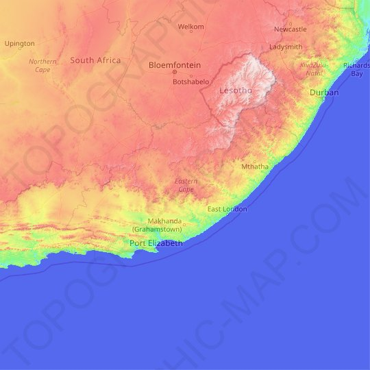 Eastern Cape topographic map, relief map, elevations map