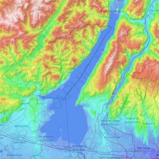 Lake Garda topographic map, relief map, elevations map