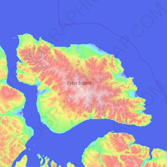 Bylot Island topographic map, relief map, elevations map