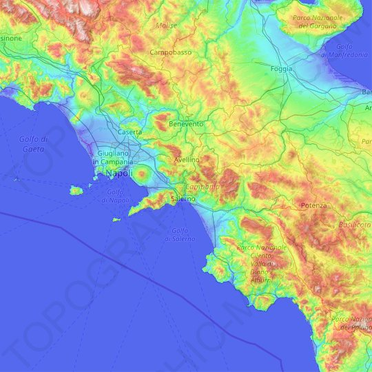 Campania topographic map, relief map, elevations map