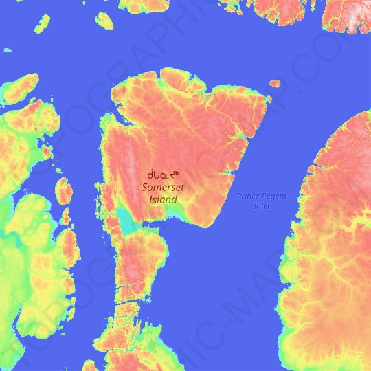 Somerset Island topographic map, relief map, elevations map