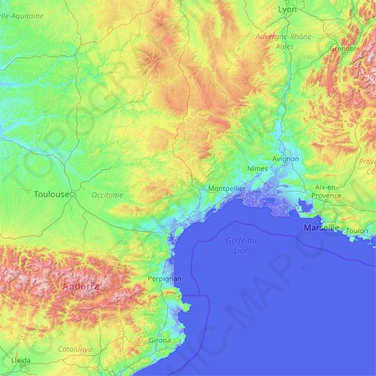 Languedoc-Roussillon topographic map, relief map, elevations map
