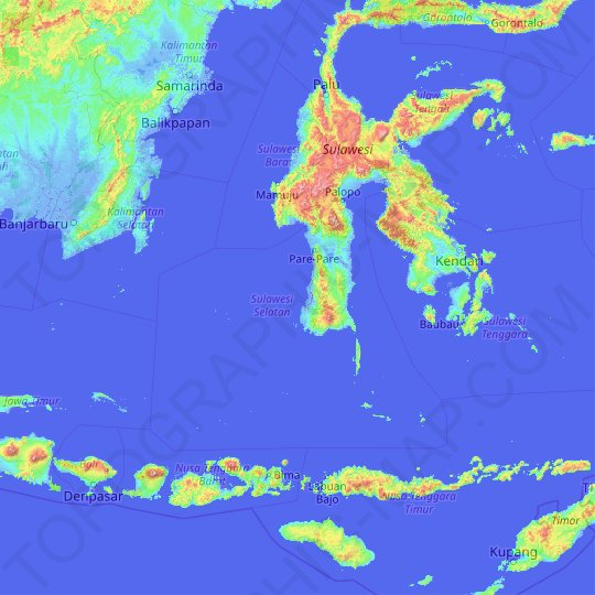 South Sulawesi topographic map, relief map, elevations map