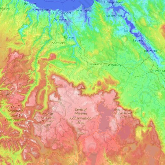 Meander Valley topographic map, elevation, relief
