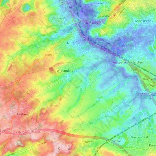 Wijnandsrade topographic map, relief map, elevations map