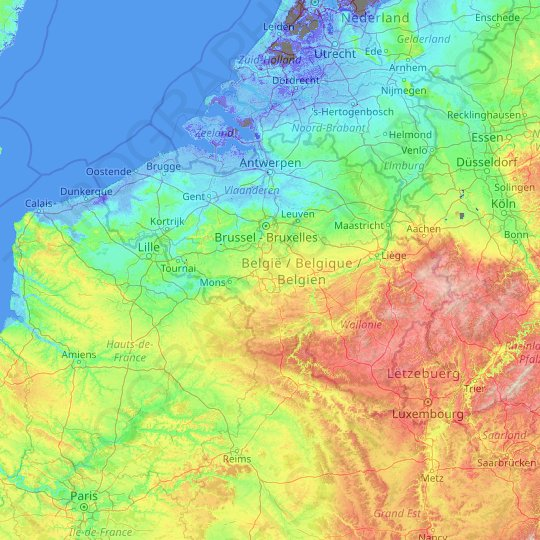 Belgium topographic map, elevation, relief