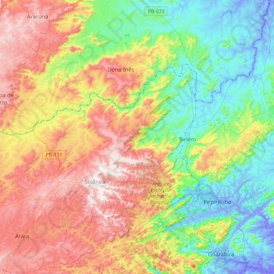Bananeiras topographic map, relief map, elevations map