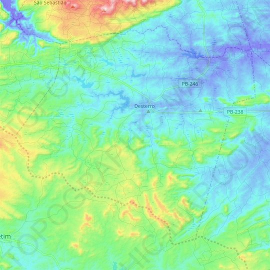 Desterro topographic map, relief map, elevations map