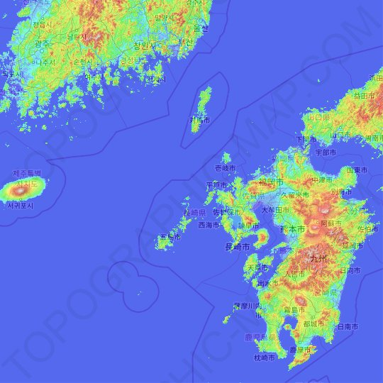 Kyushu Region topographic map, relief map, elevations map