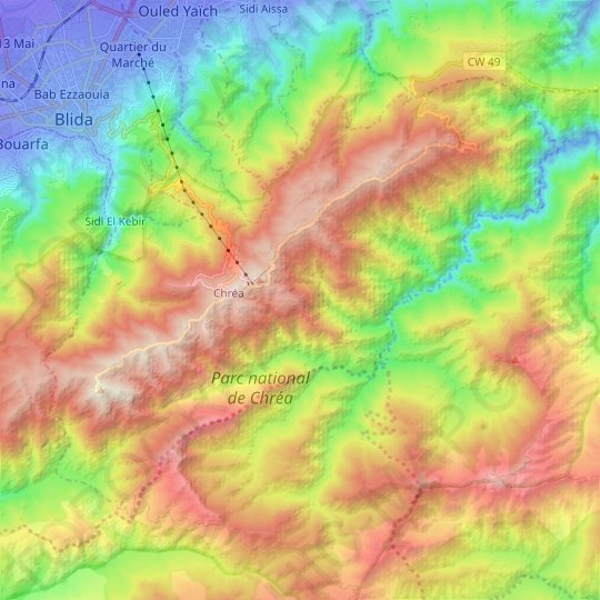 Chrea topographic map, relief map, elevations map