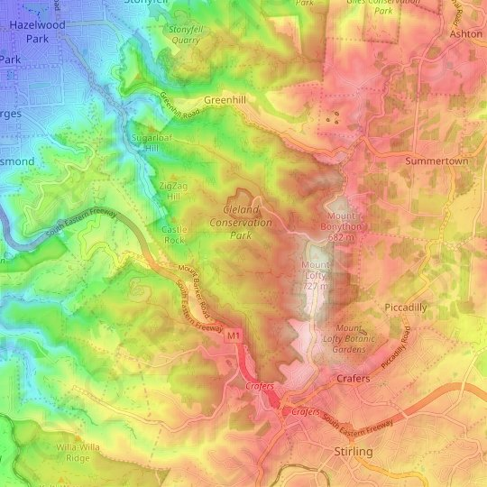 Cleland topographic map, elevation, relief
