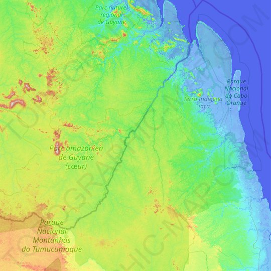 Oiapoque topographic map, relief map, elevations map