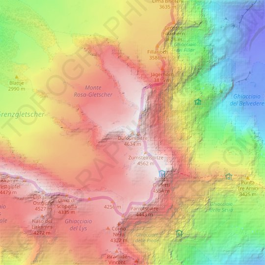 Dufourspitze (Monte Rosa) topographic map, relief map, elevations map
