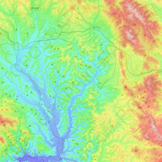 Asciano topographic map, relief map, elevations map