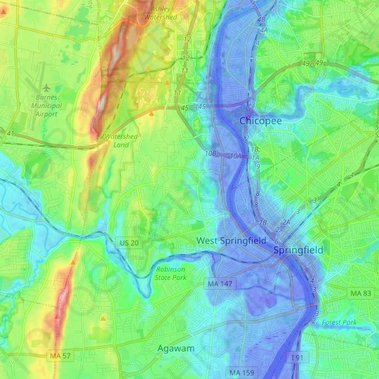West Springfield topographic map, relief map, elevations map