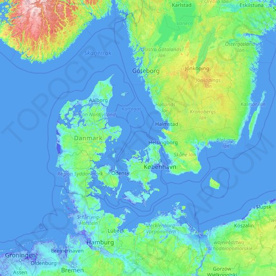 Denmark topographic map, relief map, elevations map