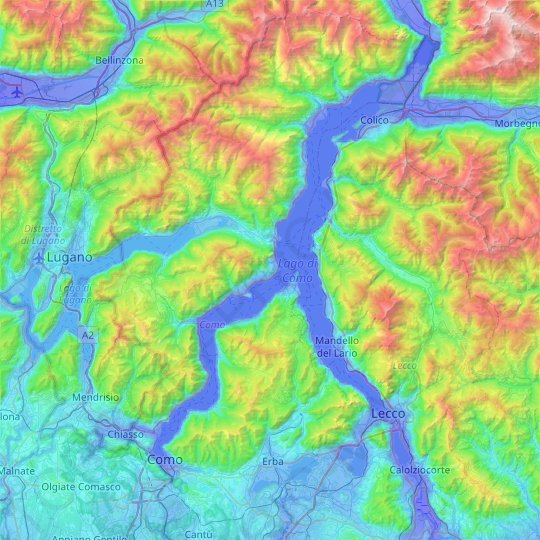 Comer See topographic map, relief map, elevations map