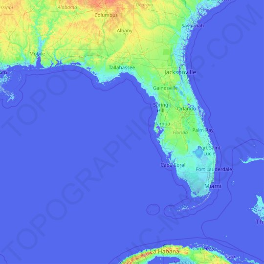 Florida topographic map, relief map, elevations map