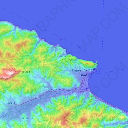 Bejaia topographic map, relief map, elevations map