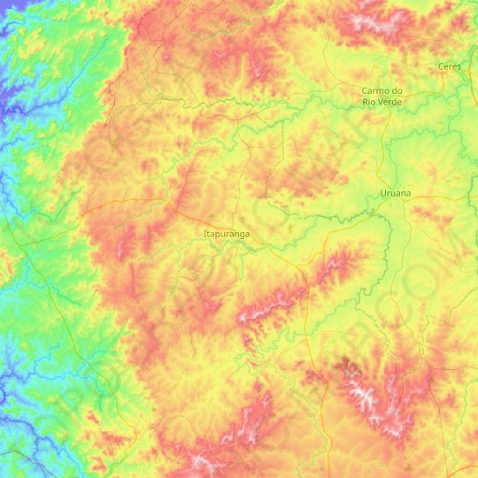 Itapuranga topographic map, relief map, elevations map