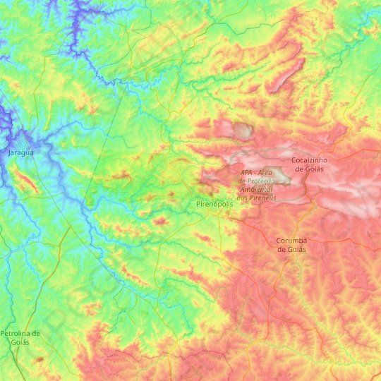 Pirenópolis topographic map, relief map, elevations map