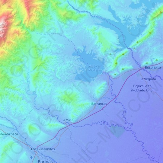Parroquia Barrancas topographic map, relief map, elevations map