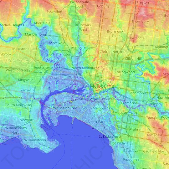 City of Melbourne topographic map, relief map, elevations map