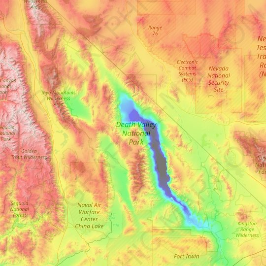 Death Valley National Park topographic map, relief map, elevations map
