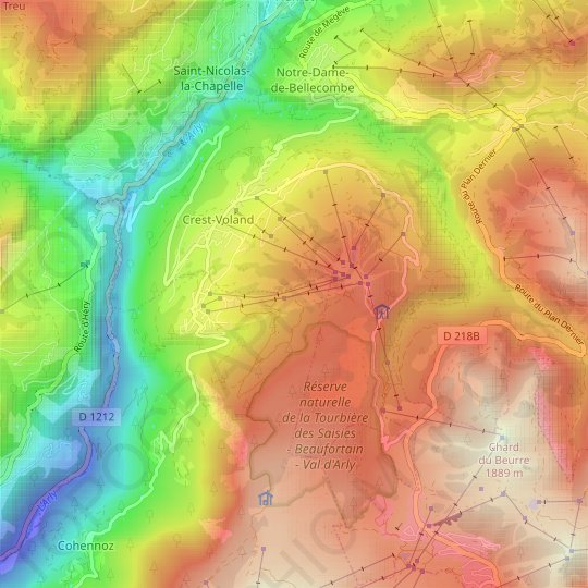 Crest-Voland topographic map, relief map, elevations map