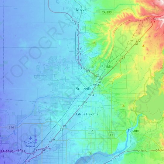 Roseville topographic map, relief map, elevations map