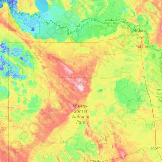 Murray-Sunset topographic map, elevation, relief