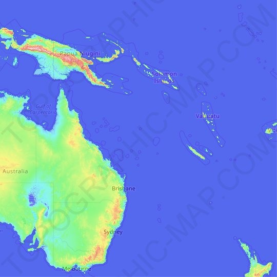 Coral Sea topographic map, relief map, elevations map