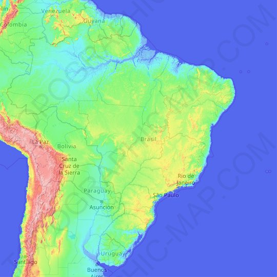 Brazil topographic map, relief map, elevations map