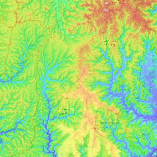 Kulnura topographic map, elevation, relief