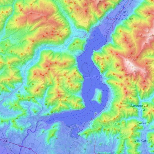 Iseosee topographic map, relief map, elevations map