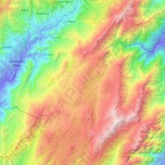 Zicavo topographic map, elevation, relief