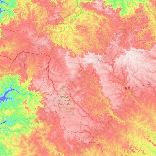 Mineiros topographic map, relief map, elevations map