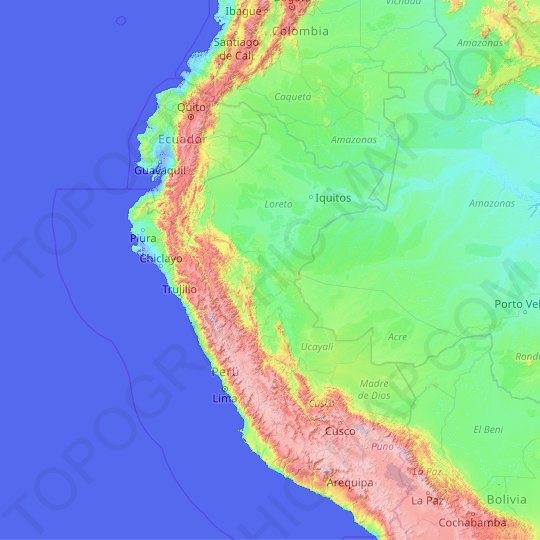 Peru topographic map, relief map, elevations map