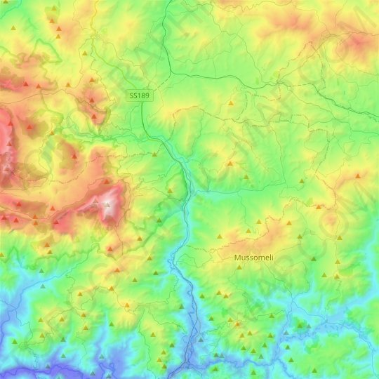 Cammarata topographic map, relief map, elevations map
