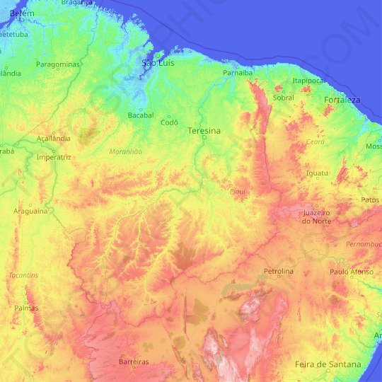 Piauí topographic map, relief map, elevations map