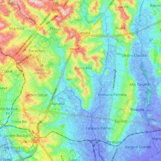 Bairro Alto topographic map, relief map, elevations map